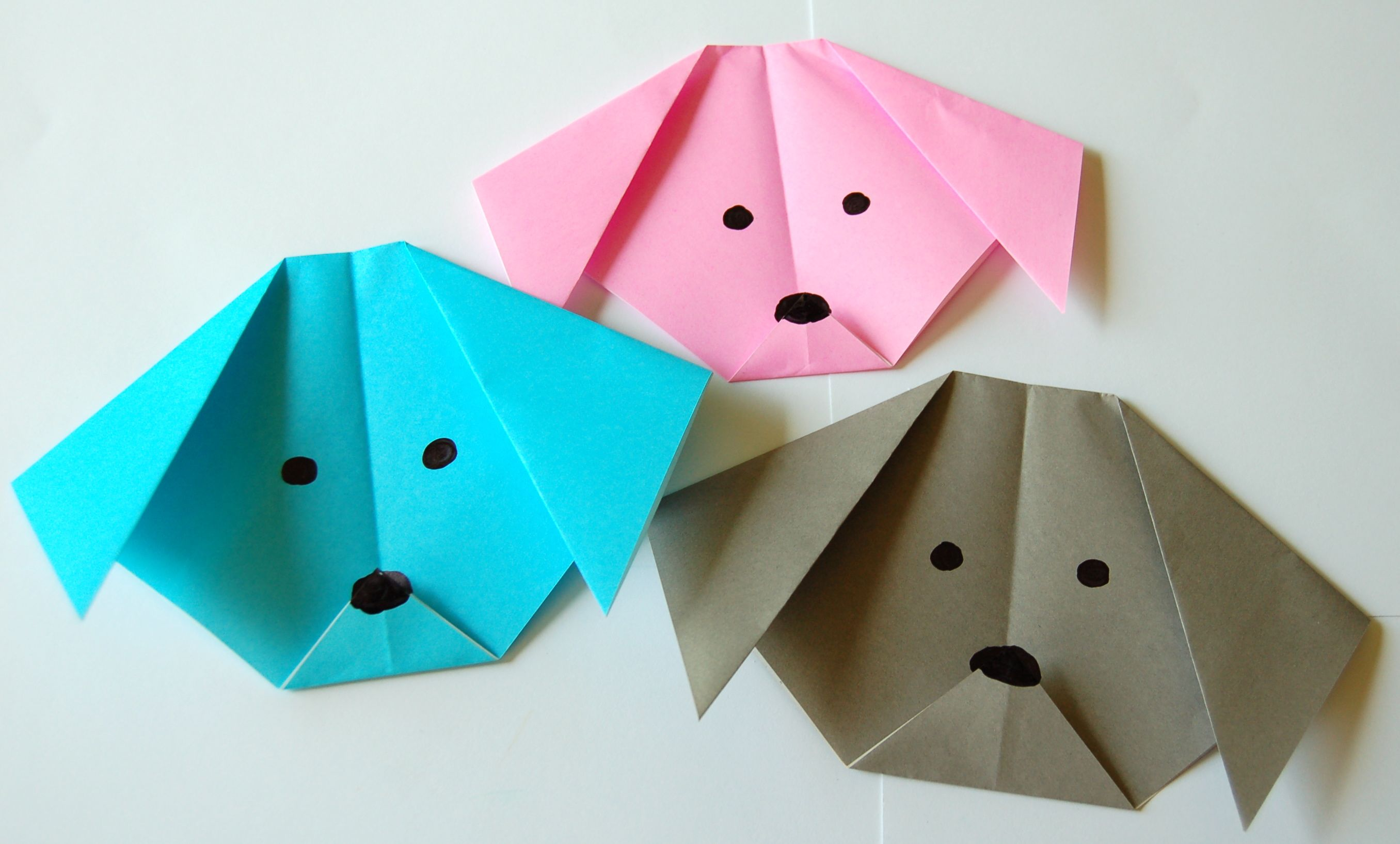 Origami dog face how to origami - Origami Dogs Group
